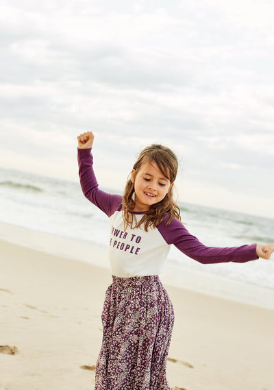 Power to the People Long Sleeve Tee Purple - Little Auguste