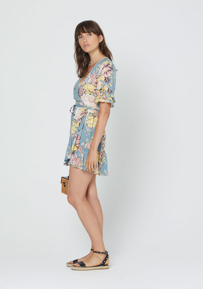 Sadie Poppy Wrap Mini Dress Blue - Auguste The Label