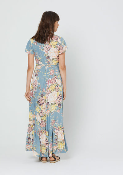 Sadie Faux Wrap Maxi Dress Blue - Auguste The Label