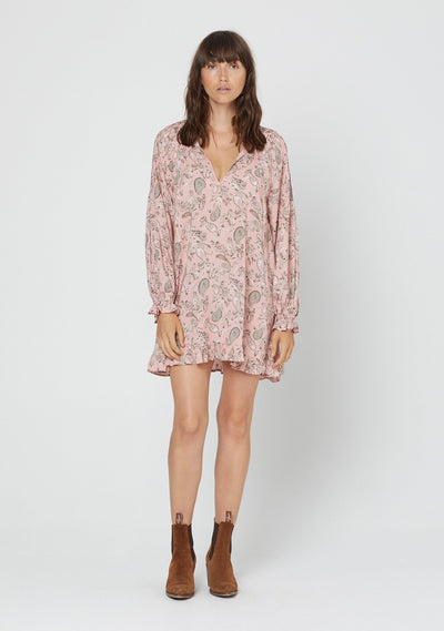 Thelma Bridgette Sleeved Mini Dress Pink - Auguste The Label