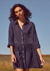 James Tabatha Mini Shirt Dress Midnight Navy - Auguste The Label