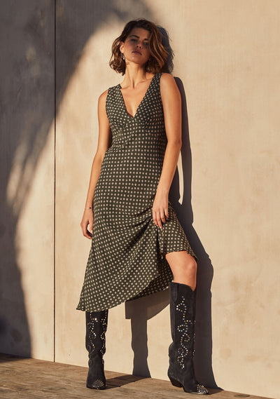 Dillion Lara Midi Dress Khaki - Auguste The Label