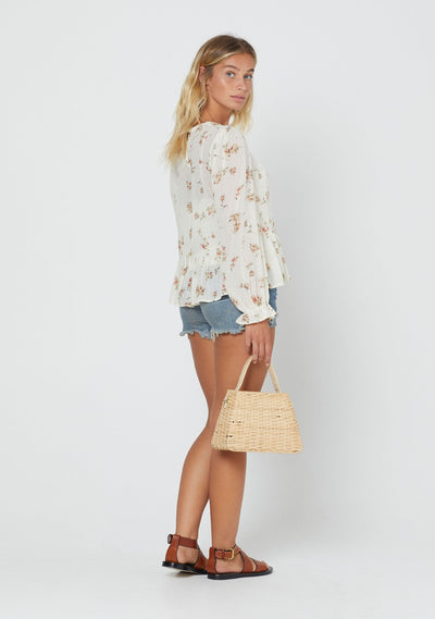 Isla Lane Sleeved Blouse Cream - Auguste The Label