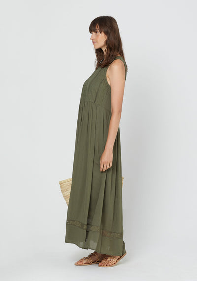 Paris Lattice Maxi Dress Khaki - Auguste The Label