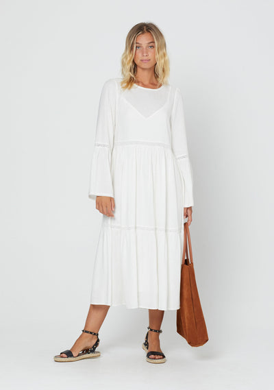 Pearl Scarlet Midi Dress White - Auguste The Label