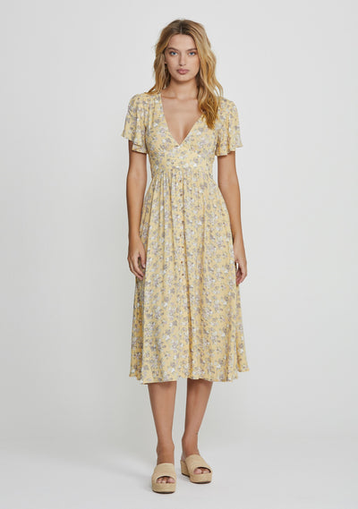 Olsen Violet Midi Dress Lemon - Auguste The Label