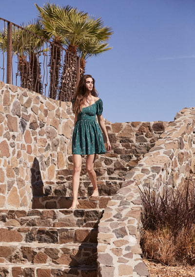 Clementine Bonne Mini Dress Emerald - Auguste The Label