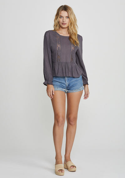 Margot Wren Blouse Charcoal - Auguste The Label