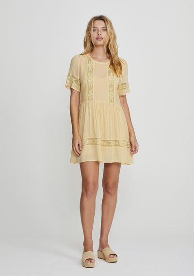 Margot Wren Mini Dress Lemon - Auguste The Label