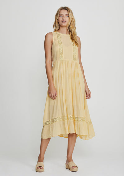 Margot Wren Midi Dress Lemon - Auguste The Label
