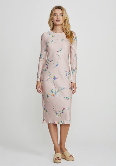 Dawn Spencer Long Sleeve Slip Midi Dress Blush - Auguste The Label