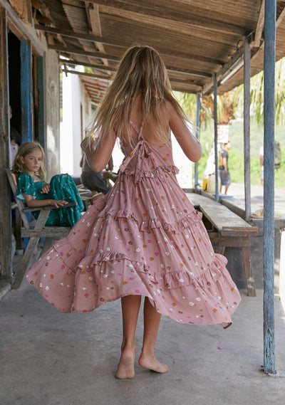 Buttercup Tie Back Maxi Dress Rose - Little Auguste - Auguste The Label