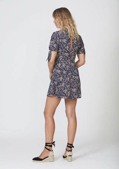 Lola Meadow Mini Dress Navy - Auguste The Label