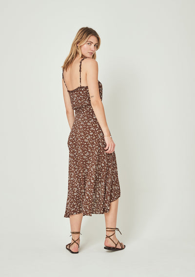 Cleo Fleur Wrap Midi Skirt Brown - Auguste The Label