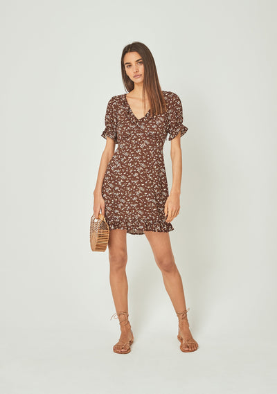 Cleo Dusk Mini Dress Brown - Auguste The Label
