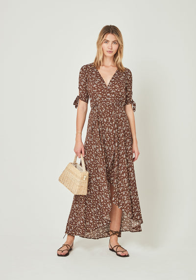 Cleo Tie Sleeve Wrap Maxi Dress Brown - Auguste The Label