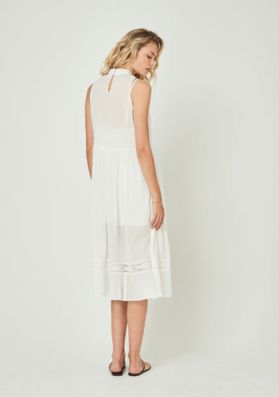 Margot Wren High Neck Midi Dress White - Auguste The Label