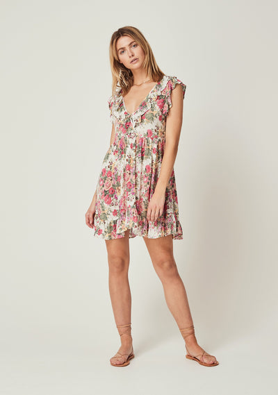 Provence Iris Mini Dress Natural - Auguste The Label