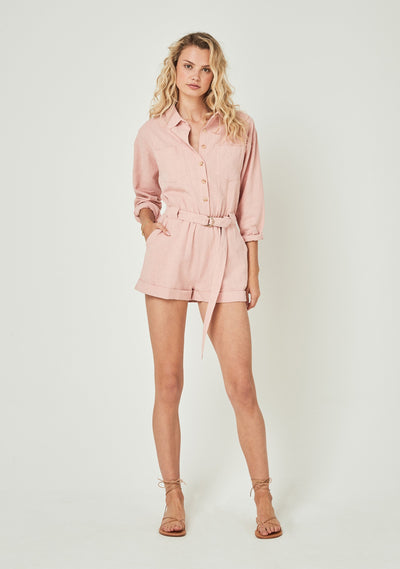 Canyon Boyfriend Romper Pink - Auguste The Label