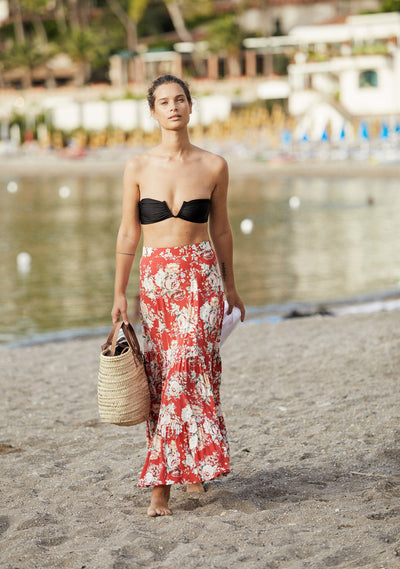 Reverie Violet Maxi Skirt Red - Auguste The Label