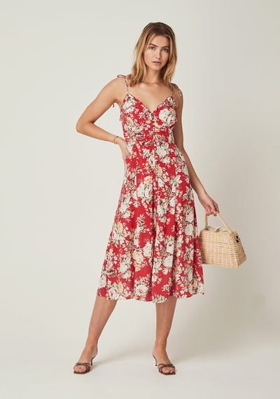 Reverie Juliette Midi Dress Red - Auguste The Label
