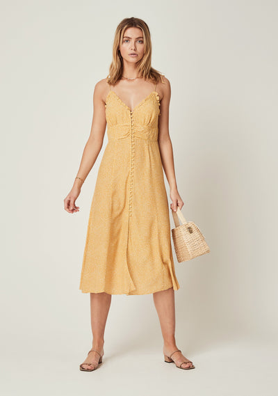 Tear Drop Juliette Midi Dress Golden Sand - Auguste The Label