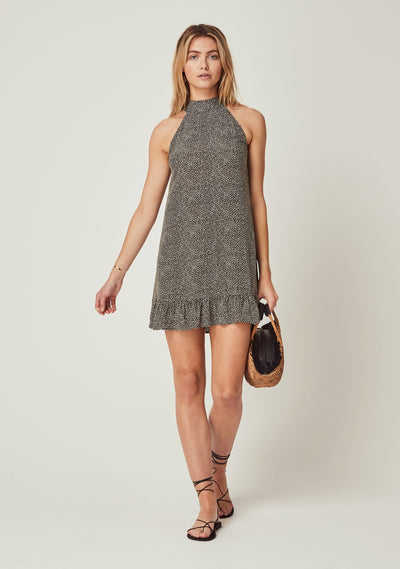 Tear Drop Nora Mini Dress Charcoal - Auguste The Label