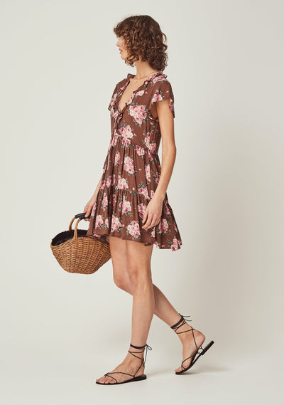 Roselle Matilda Babydoll Mini Dress Brown - Auguste The Label