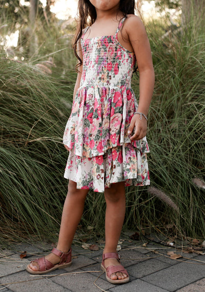 Provence Sweetheart Mini Dress Natural - Little Auguste