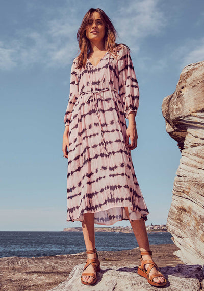 Tie Dye Willow Midi Dress Pink - Auguste The Label