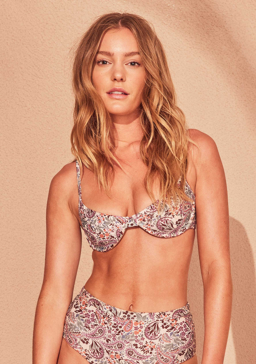 Paisley Sculpt Bikini Top Blush - Auguste The Label
