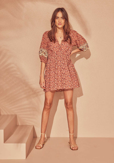Bohemian Elodie Mini Dress Rose - Auguste The Label