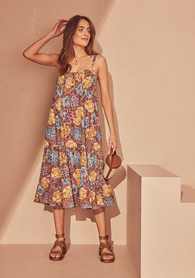 Selena Layla Midi Dress Plum - Auguste The Label
