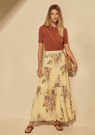 Leonie Caroline Maxi Skirt Lemon - Auguste The Label