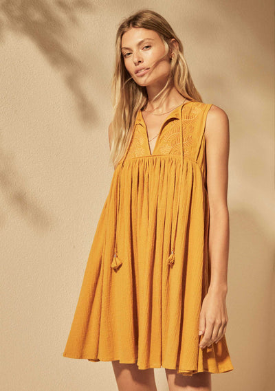 Embroidered Akira Mini Dress Amber - Auguste The Label