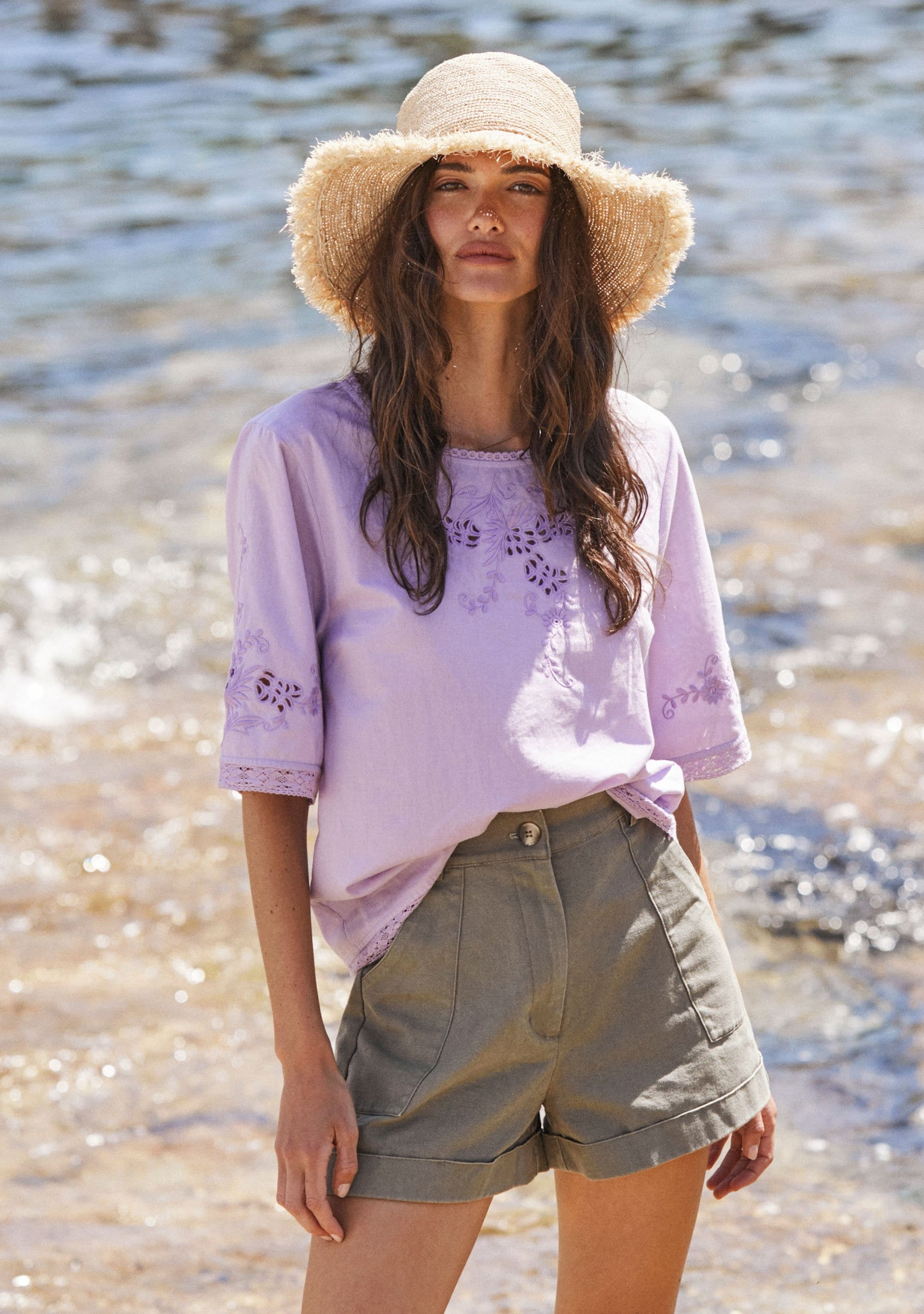 Embroidered Grace Blouse Lilac