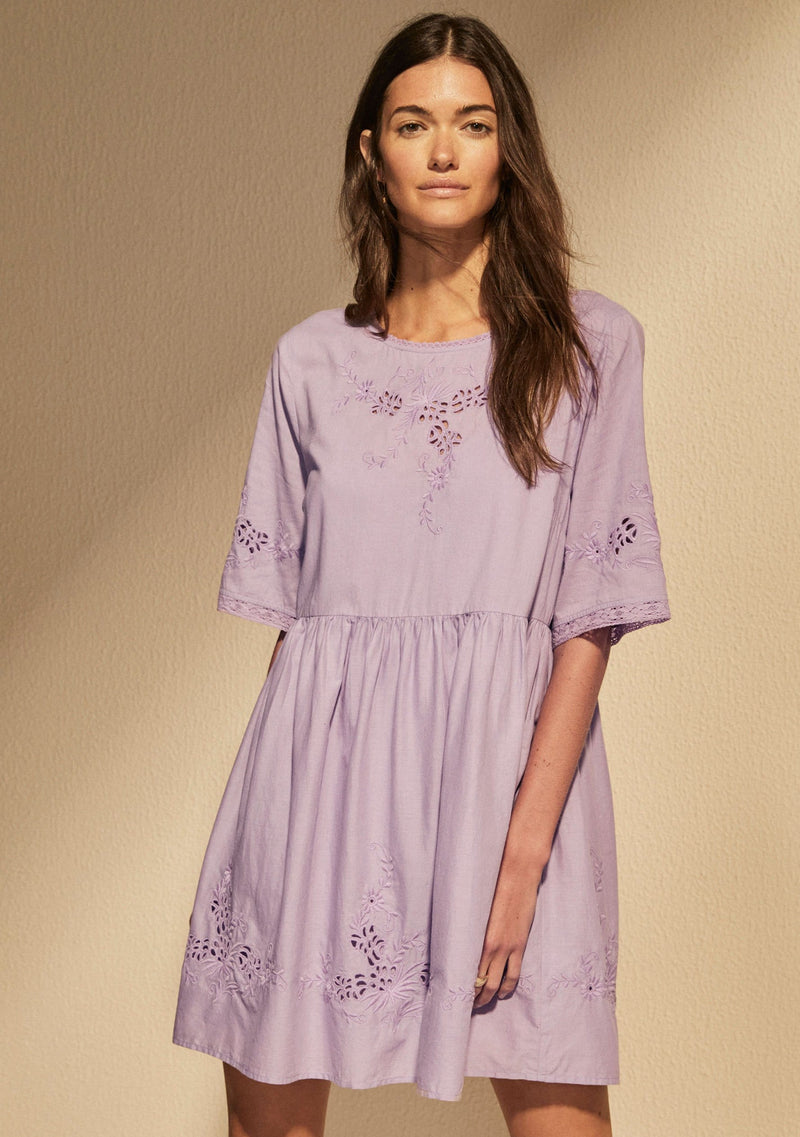 Embroidered Grace Mini Dress Lilac