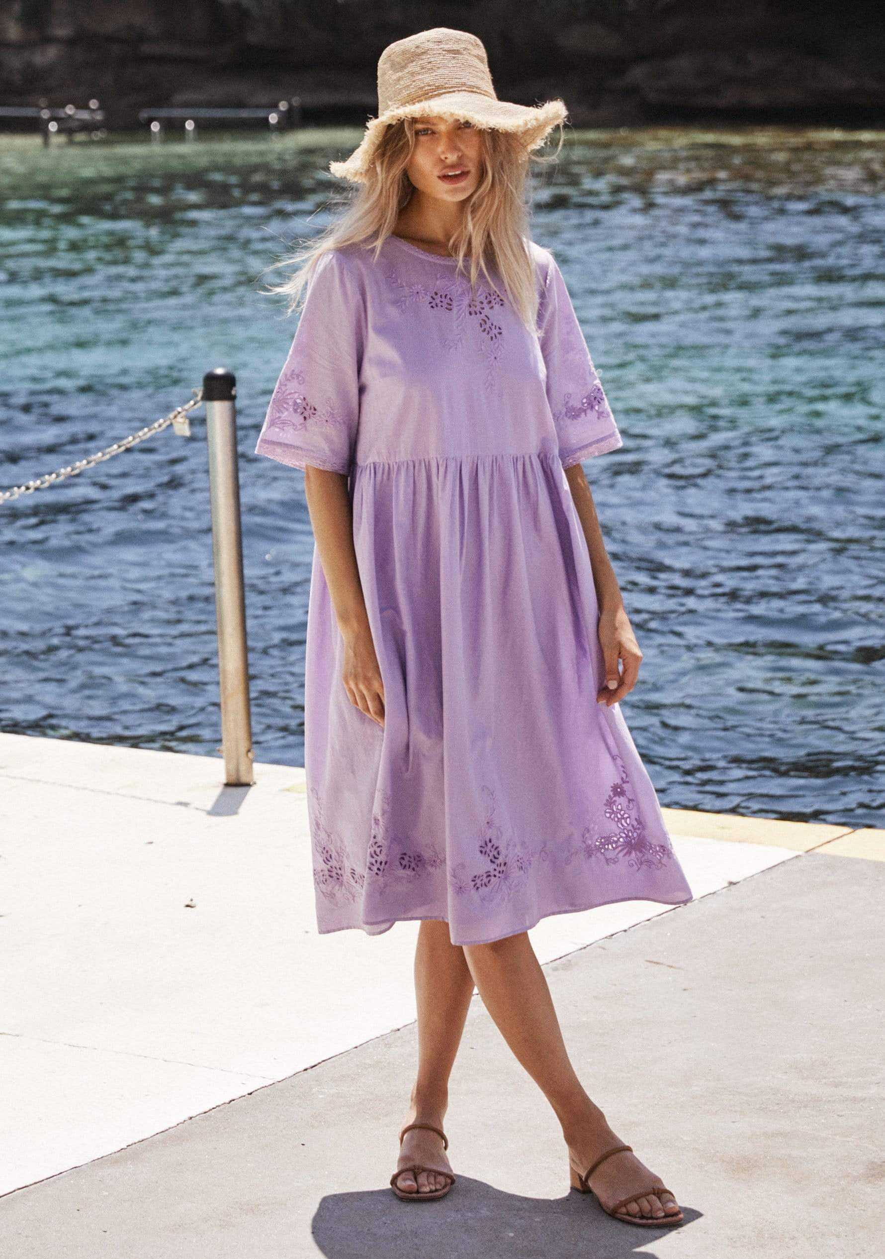 Embroidered Grace Midi Dress Lilac