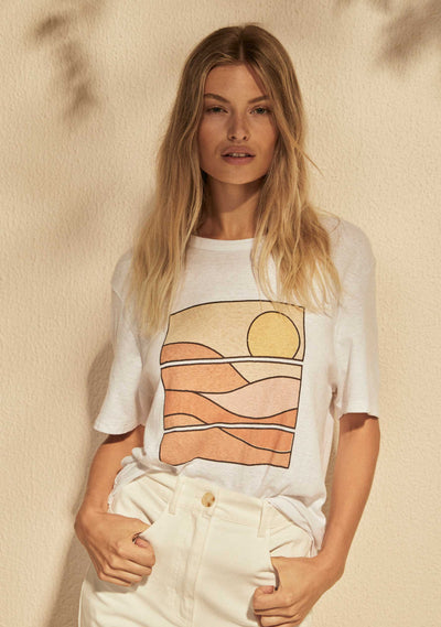 REAL FUN, WOW. Sun Wave Boyfriend Tee White - Auguste The Label