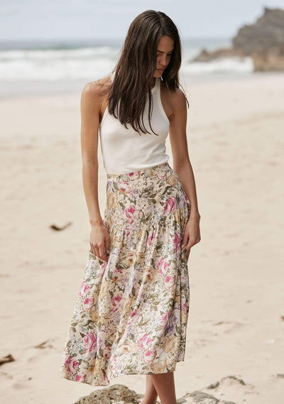 Jardin Audrey Midi Skirt Oatmeal - Auguste The Label