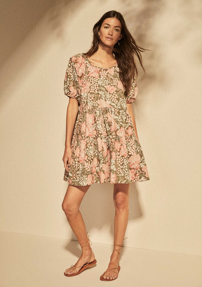 Dusk Omeara Mini Dress  Khaki - Auguste The Label
