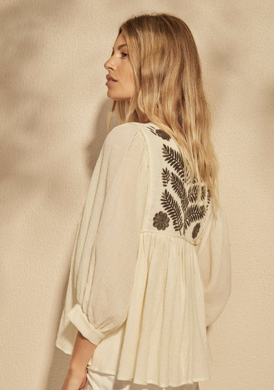 Embroidered Leisel Blouse Ivory - Auguste The Label
