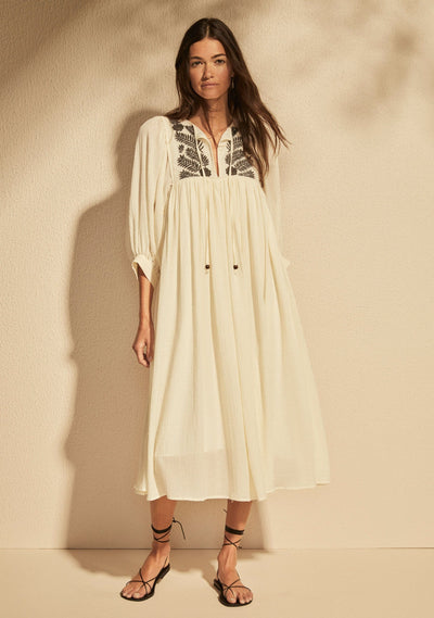 Embroidered Leisel Midi Dress Ivory - Auguste The Label