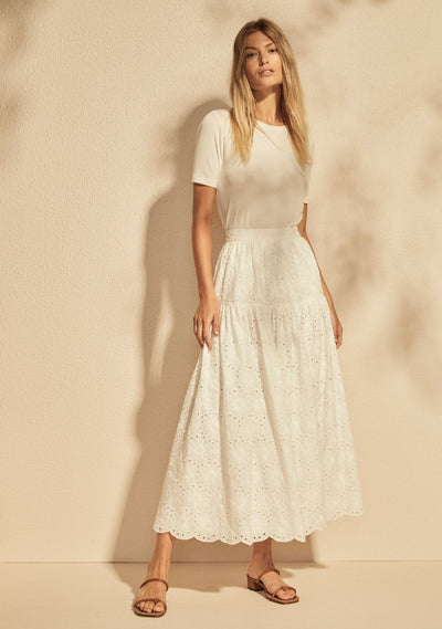 Aaliyah Midi Skirt  White - Auguste The Label