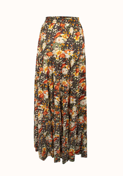 Wild Flower Armani Maxi Skirt Charcoal - Auguste The Label