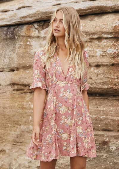 Lillian Viola Mini Dress Dusty Pink - Auguste The Label