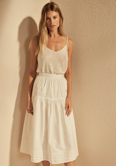 Elora Midi Skirt White - Auguste The Label