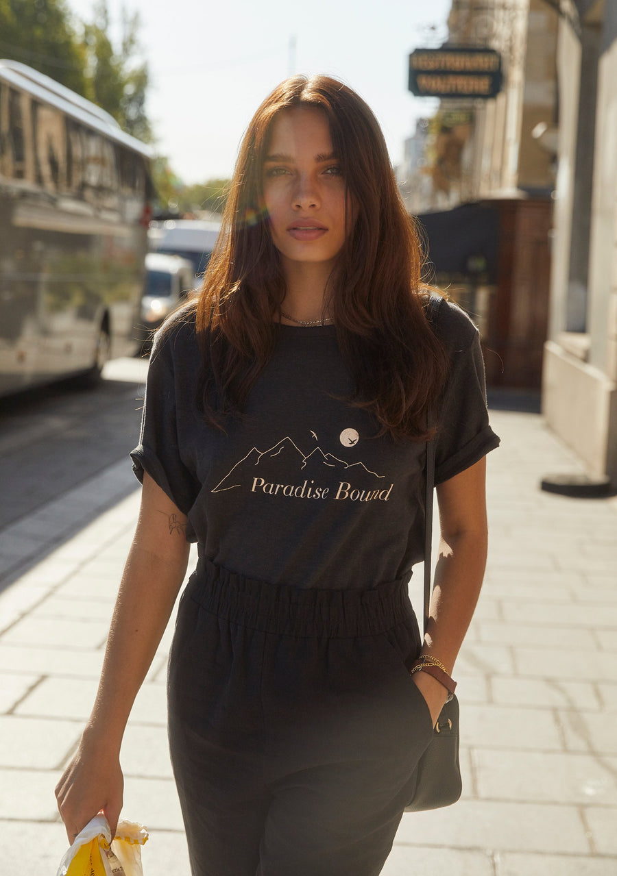 Paradise Bound Tee Charcoal - Auguste The Label