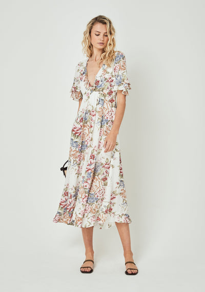 Sadie Goldie Maxi Dress Ivory - Auguste The Label