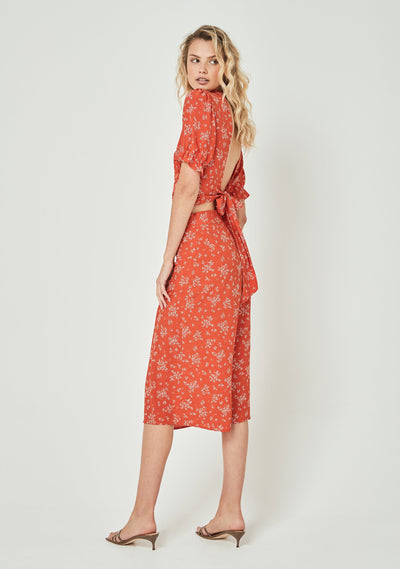 Maeve Marcel Midi Skirt Pastel Orange - Auguste The Label
